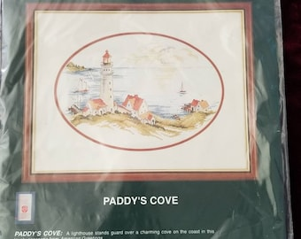 Elsa William's Paddy's Cove Light House Sea Scape Counted Cross Stitch kit 14 by 10 inches finished