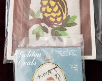 Set of two Owl  Stitchery kits Crewel Kits  Cathy Needlecraft and Fruit of the Loom Gift Idea