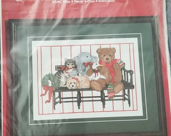 Janlynn Holiday Animal Portrait Counted Cross Stitch kit 12 by 9 inches finished Puppy Elephant Kitten Duck Bear