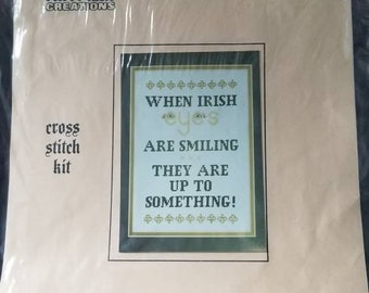 When Irish Eyes are Smiling Cross Stitch Kit Patty Ann Creations Approx 9x12 finished