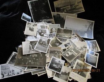 150+ Vintage Black + White Sepia  Photos 1930s thru 70s USA and Europe Country City Old Mountains  People Animal Photos Ephemera scrapbooks
