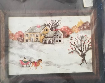 Sultana Winter Scene Counted Cross Stitch kit 5 by 7 inches finished