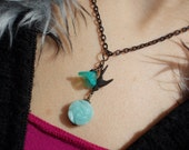 Swallow necklace Victorian bird necklace women amazonite rose flower natural gemstone vintage finish dark oxidized brass Peruvian opal blue