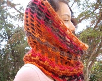 Wool cowl snood crochet infinity circle scarf pumpkin orange brown hood hand crocheted lace mesh net nature rustic autumn winter 100% rust