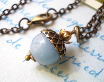 Natural angelite acorn necklace for women oxidized antiqued brass and stone blue gemstone bead nature inspired vintage chic jewelry