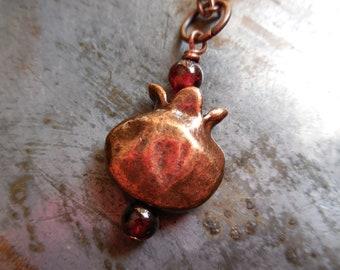 Pomegranate Necklace Natural Garnet stones Pomegranate Fruit gemstone copper garnet pendant cast metal charm necklace Persephone pomegranate