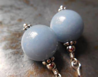 Natural angelite earrings, blue stone earrings, blue gemstone, 925 sterling silver, stones jewelry teal aqua acorn angel flower fantasy sky