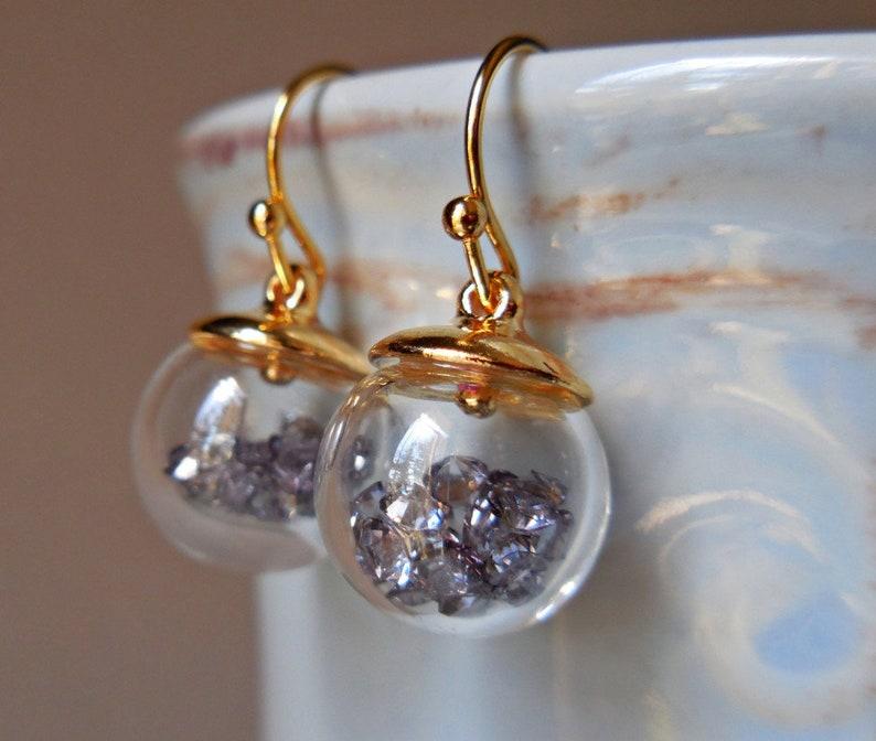 d0c6d6b39 Mini terrarium earrings black diamond earrings Gold plated   Etsy