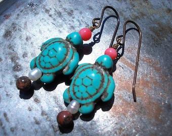 Turtle earrings, sea turtle earrings, turquoise tortoise earrings, leopard skin jasper, coral fresh water pearl brass, ocean organic ethnic