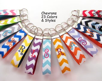 Personalized Wristlet Key Fob CHEVRON Assorted Colors; Bridesmaid Gifts Wedding