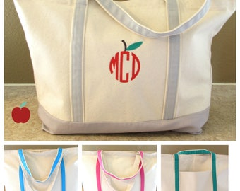 "Teacher APPLE Monogram Zippered Tote Bag  Monogram Teacher Tote Bag  Christmas Gift Canvas Tote, Monogram Tote Bag, Teacher Tote Gift 22"" D"