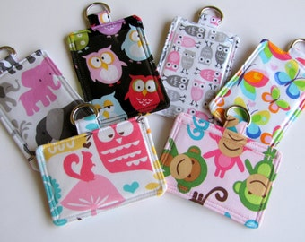 Teacher Gift Cute ID Badge Pouch with Back Pocket, Owl, Butterfly, Monkey Horizontal or Vertical with Back Pocket ID Badge Holder