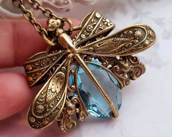 Aqua Dragonfly necklace, antique bronze dragonfly jewelry, aquamarine necklace, aqua blue filigree jewelry, Victorian insect jewelry