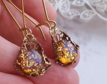 Amber Topaz Opal earrings, harlequin opal drop earrings, antique inspired brass earrings, glass opal jewelry, filigree jewelry, Victorian