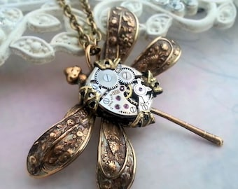 Steampunk necklace, dragonfly necklace, steampunk dragonfly jewelry, steampunk jewelry, dragonfly pendant, fantasy statement necklace