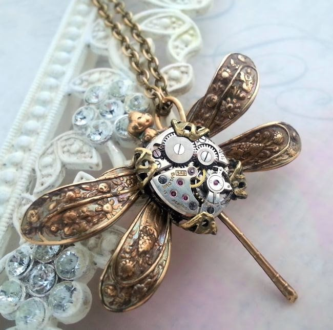 Steampunk dragonfly necklace Victorian steampunk jewelry ...