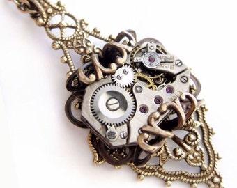 Dolce Vita Steampunk necklace steampunk jewelry, steampunk pendant, assemblage necklace fantasy jewelry statement necklace filigree jewelry