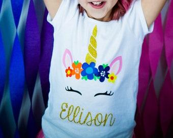 Unicorn Birthday Shirt {personalized name unicorn rainbow flower shirt}
