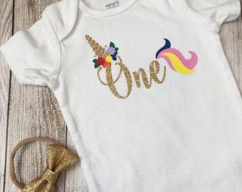 Glitter ONE Unicorn Onesie (with coordinating headband, unicorn, first birthday)