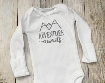 Adventure Awaits Onesie {newborn onesie, coming home outfit, mountain baby, baby shower gift}