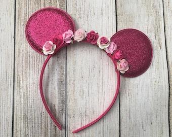Pink Flower Mouse Headband {mouse ears, flower mouse headband}