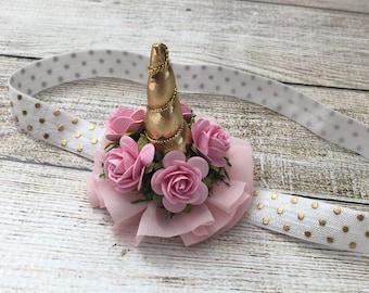 Mini Gold Unicorn wth Paper Flowers Headband