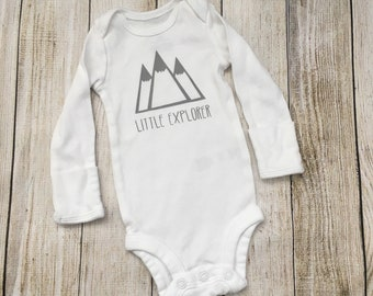 Little Explorer Onesie {newborn onesie, coming home outfit, mountain baby, baby shower gift}