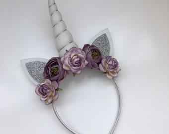 Purple Silver White Flower Unicorn Headband {unicorn horn, flower headband, unicorn crown}