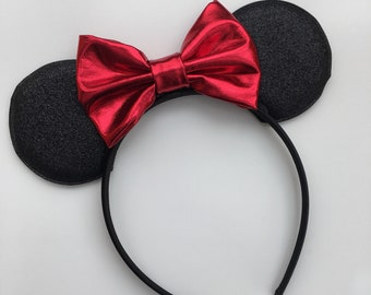 Black Red Mouse Headband {mouse ears, mouse inspired headband}