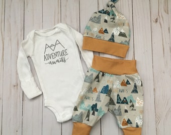 Adventure Awaits Newborn Outfit Gray Yellow Orange {newborn onesie, ready to ship, mountain baby, coming home outfit, boy onesie, baby gift}