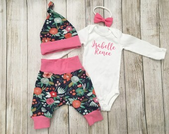 Navy Pink Floral Personalized Newborn Outfit {newborn onesie, ready to ship, coming home outfit, gift wrapped, baby shower gift}