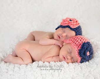 Preemie/Newborn Twin Girl Hats with Flowers - you pick colors!