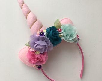 Pastel Pink Rainbow Unicorn Headband {unicorn horn, pastel, flower headband}