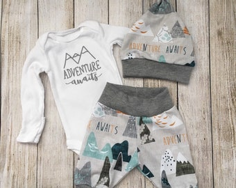 Adventure Awaits Newborn Outfit {newborn onesie, mountain baby, coming home outfit, boy onesie, baby shower gift, arrow}