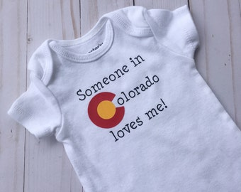 Someone in Colorado Loves Me Onesie {newborn onesie, colorado onesie, state onesie, CO, coming home outfit, baby shower gift}