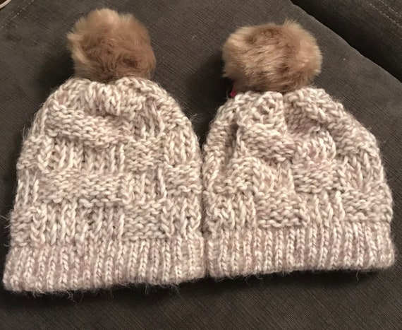 Pom Hat Hand Knit Winter Hat Tan and White with Tan Pom  6af0ccf72c6