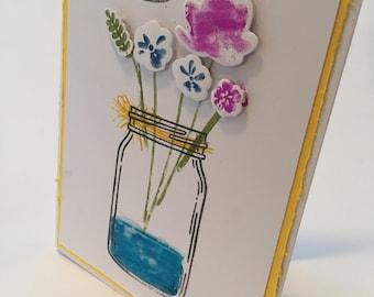 Yellow Floral Hello Card,  Mason jar card,  Just because card, Friendship card, Hey friend card, 3 D accents, Mason Jar Greeting card, Card