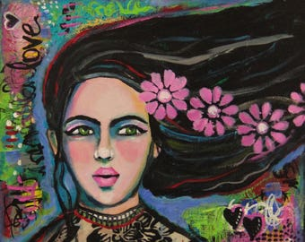 She Loves Pink Daisies - Original Mixed Media Painting
