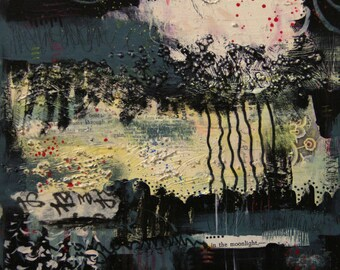 In the Moonlight - Original Mixed Media Abstract Painting