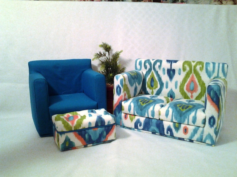 Doll Furniture Set For 18 Inch Dolls Sofa Chair And Ottoman Turquoise Southwestern Handmade Doll Furniture