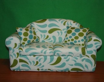Blue and Green Teardrops Doll  Sofa fits Blythe Barbie and other 11 1/2 inch dolls