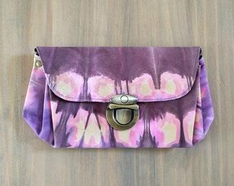 Tie Dye Leather Clutch, Bohemian Handbag, Handmade Clutch, Hand Dyed Leather, Leather Bag, Boho Handbag, One of a Kind