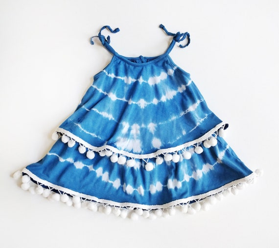Royal Blue Layered Top, Pom Poms, Bohemian, Fringe Top, Ruffle Top, Boho Baby, Bohemian Kids, Tie Dye, Tank Top, Hippie Kids, Festival Style