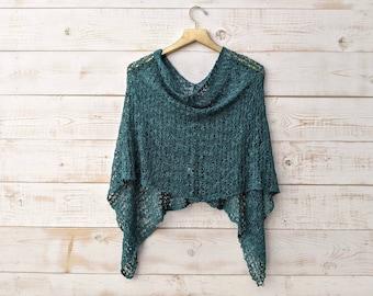 Evergreen Knit Mini Poncho, Popcorn Knit, Convertible Shawl, Lightweight Wrap, Cover Up, Knit Shawl, Hunter Green Wrap