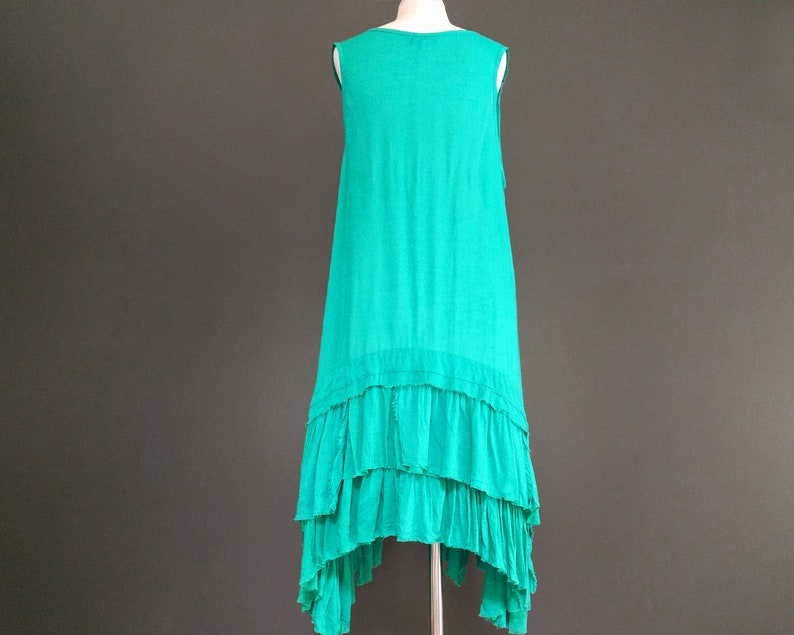 Bohemian Dress Layered Tunic, Tunic Teal Raw Edge Layered Dress
