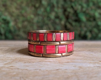 Gypsy Bangles, Brass Bangles, Boho Bracelet Set, Red + Gold