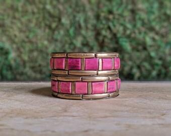 Gypsy Bangles, Brass Bangles, Boho Bracelet Set, Pink + Gold