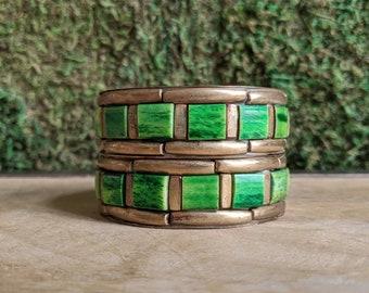 Gypsy Bangles, Brass Bangles, Boho Bracelet Set, Green + Gold