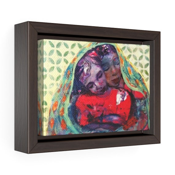 Mother and Child I. Horizontal Framed Premium Gallery Wrap Canvas
