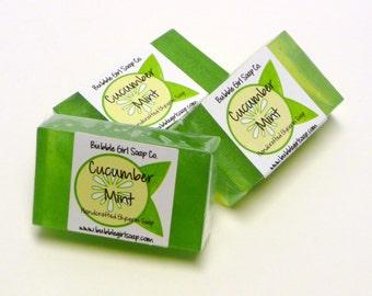 Cucumber Mint Mini GUEST BAR SLS Detergent Free Handmade Vegan Glycerin Soap